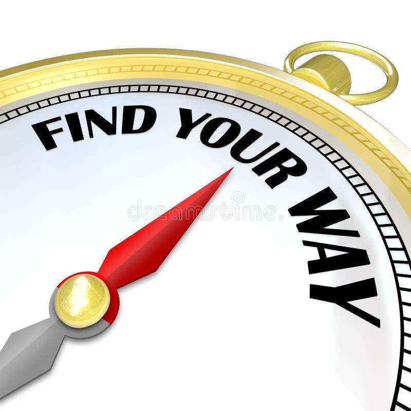 Vind Uw Weg - het Gouden Kompas geeft Richtingen aan Reiziger vector illustratie