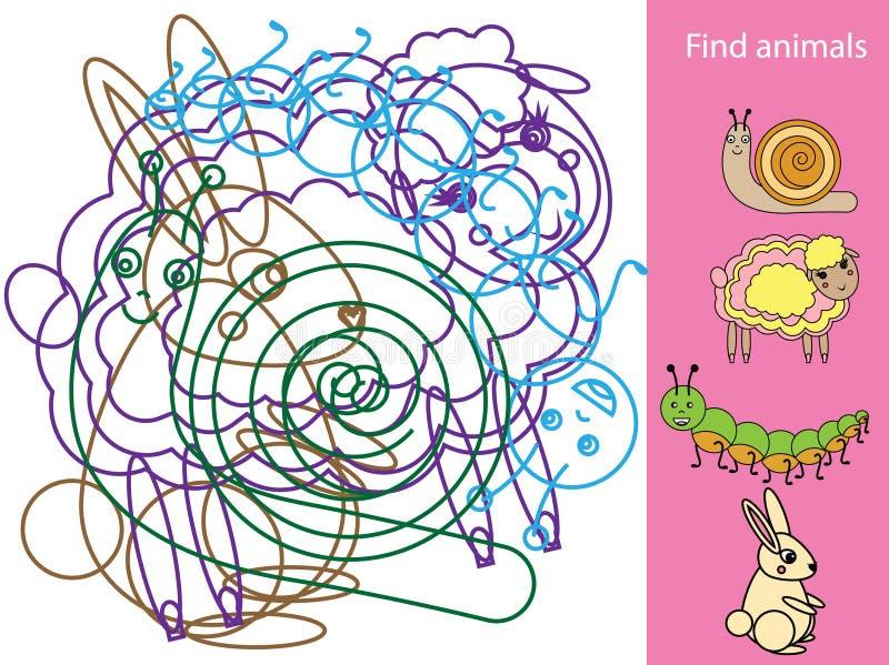 Vind verborgen voorwerpen en vormen Onderwijs spel Dierenthema Activiteit voor peuters en kinderen vector illustratie
