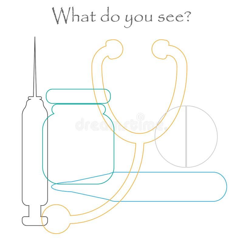Vind verborgen voorwerpen op het beeld, geneeskundethema - pil, stethoscoop, spuit, thermometer, de reeks van de hutspotcontour,  royalty-vrije illustratie