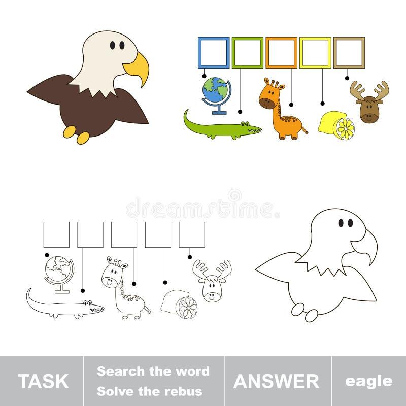Vind verborgen woord EAGLE vector illustratie
