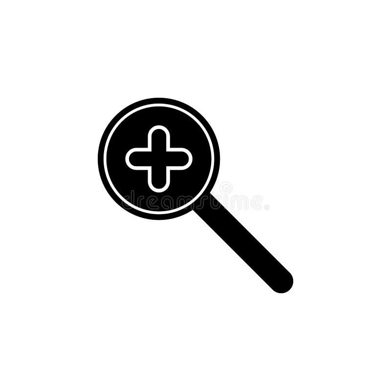 Vind, vergrootglas, onderzoek, gezoempictogram De tekens en de symbolen kunnen voor Web, embleem, mobiele toepassing, UI, UX word royalty-vrije illustratie