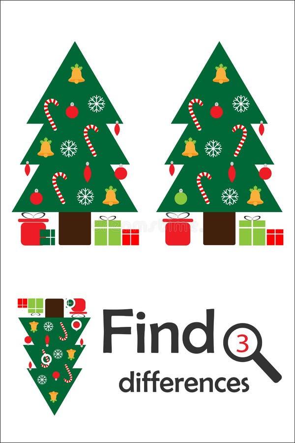 Vind 3 verschillen, Kerstmisspel voor kinderen, Kerstmisboom in beeldverhaalstijl, onderwijsspel voor jonge geitjes, peuteraantek stock illustratie