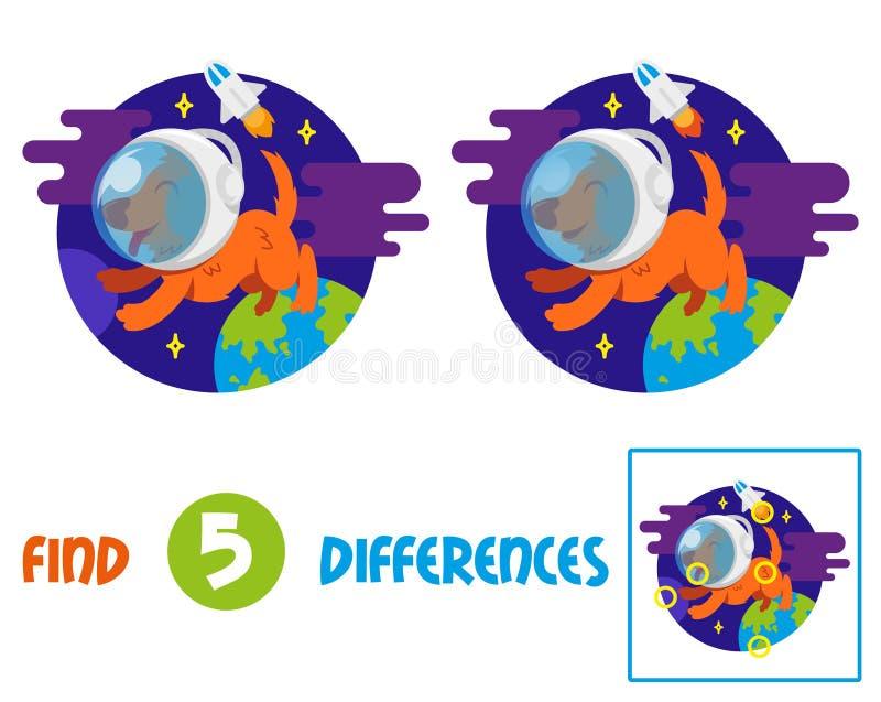 Vind verschillen met astronautenhond vector illustratie