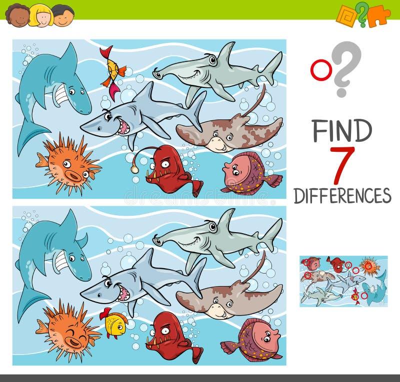Vind verschillen met vissen overzeese het levenskarakters stock illustratie
