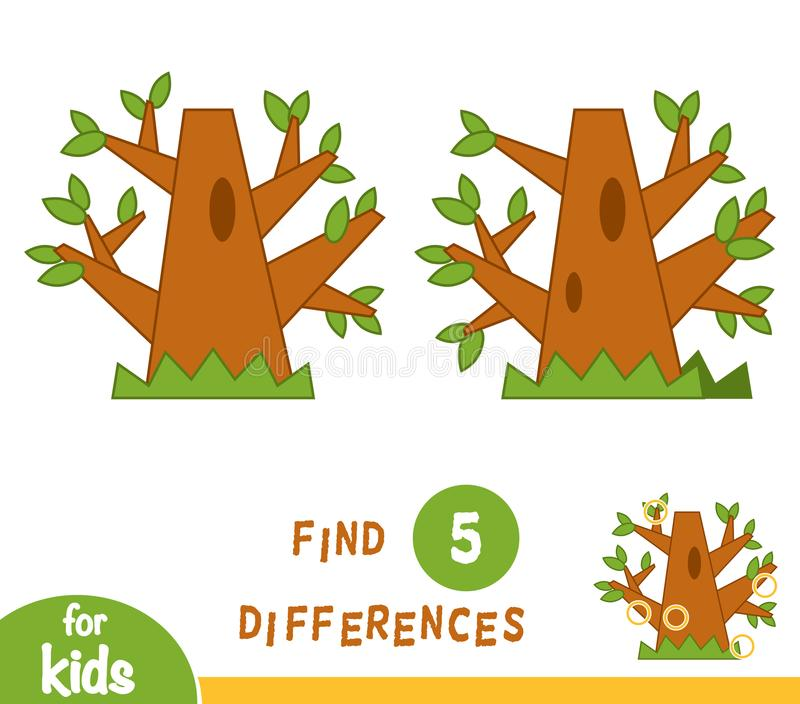 Vind verschillen, onderwijsspel, Eik stock illustratie