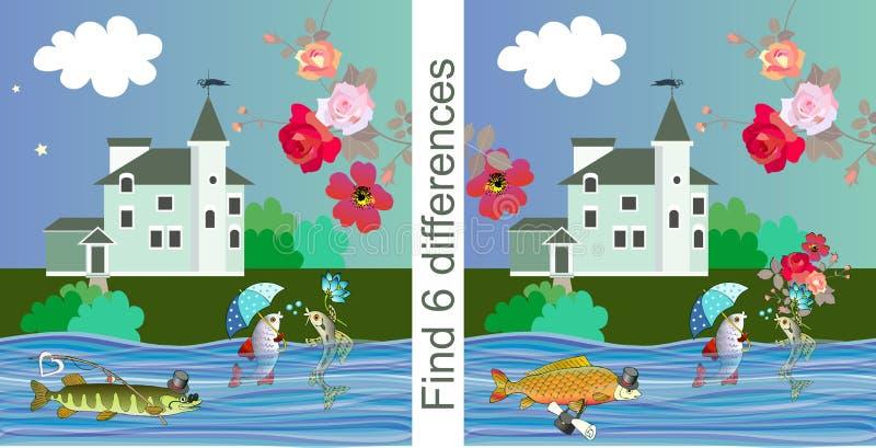 vind verschillen Onderwijsspel voor kinderen Vector illustratie Leuke beeldverhaalvissen, heldere bloemen en mooi huis royalty-vrije illustratie