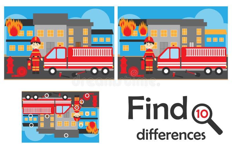 Vind 10 verschillen, spel voor kinderen, brand en brandweermanbeeldverhaalstijl, onderwijsspel voor jonge geitjes, peuteraanteken royalty-vrije illustratie