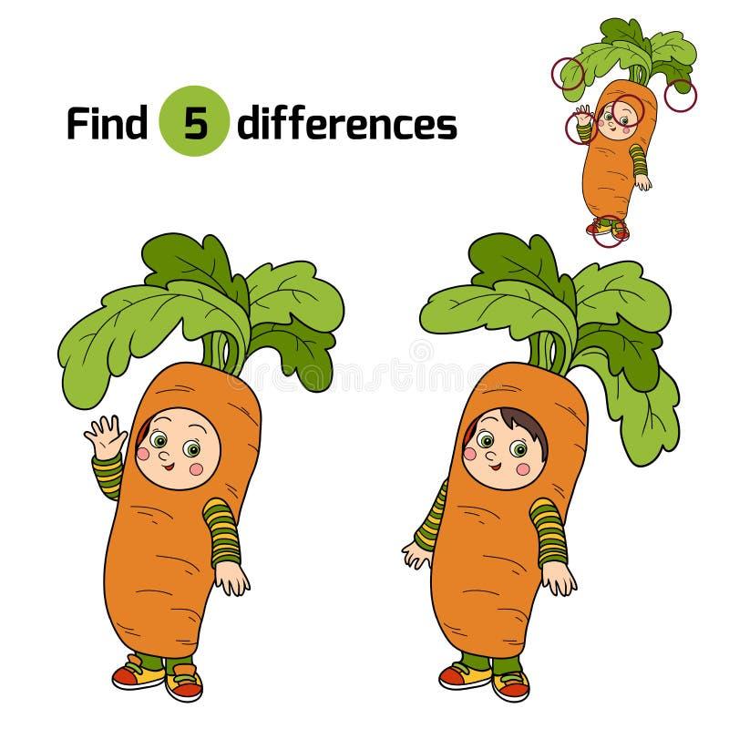 Vind verschillen voor kinderen: Halloween-karakters (wortelkosten stock illustratie