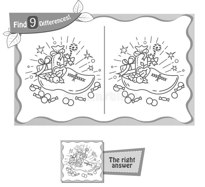 Vind 9 verschillenspel Sinterklaas stock illustratie