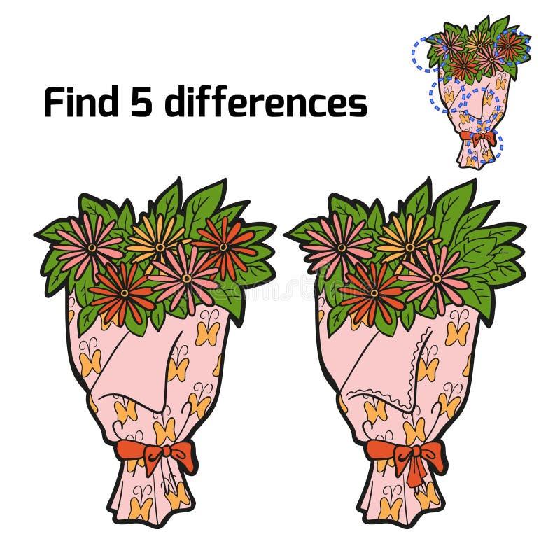 Vind vijf verschillen (bloemenboeket) royalty-vrije illustratie