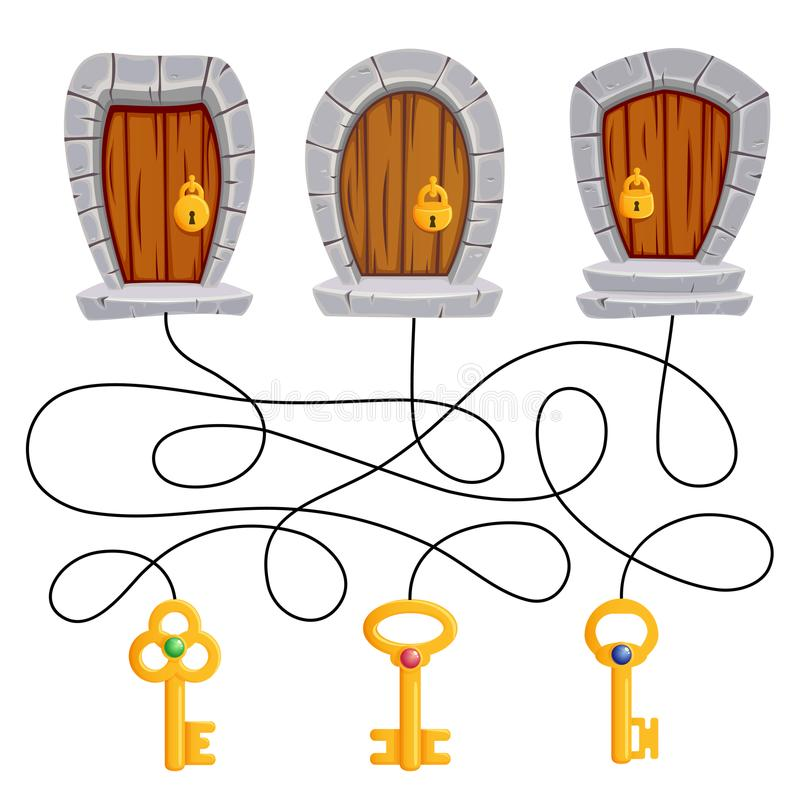 Vind welke sleutel geschikt is aan welke deur Raadsel Het spel van het labyrint voor jonge geitjes stock illustratie