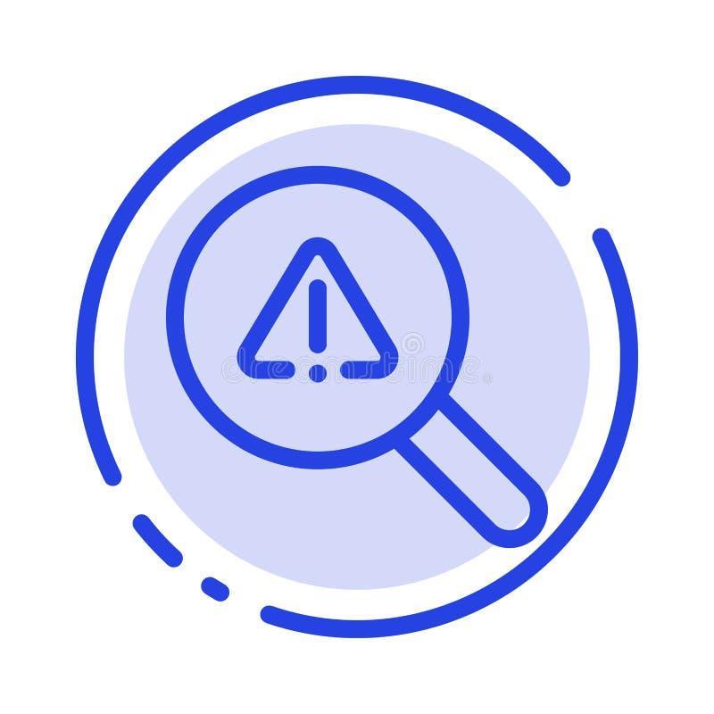 Vind, zoek, bekijk, de Lijnpictogram van de Fouten Blauw Gestippelde Lijn vector illustratie