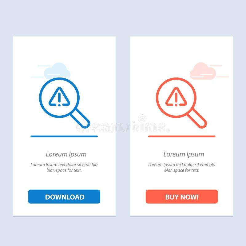Vind, zoek, bekijk, Fouten Blauwe en Rode Download en koop nu de Kaartmalplaatje van Webwidget stock illustratie
