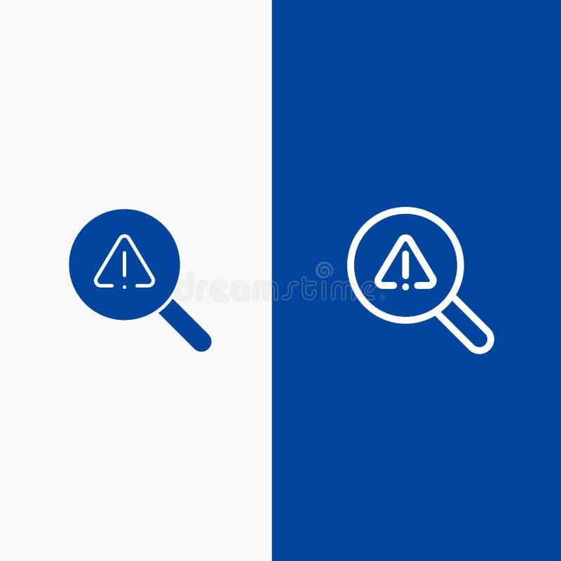 Vind, zoek, bekijk, Foutenlijn en Lijn van de het pictogram Blauwe banner van Glyph de Stevige en Stevige het pictogram Blauwe ba royalty-vrije illustratie