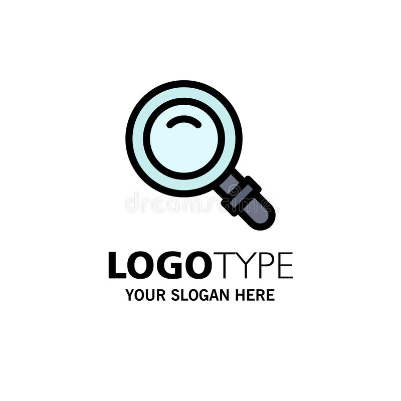 Vind, zoek, bekijk, Glaszaken Logo Template vlakke kleur stock illustratie