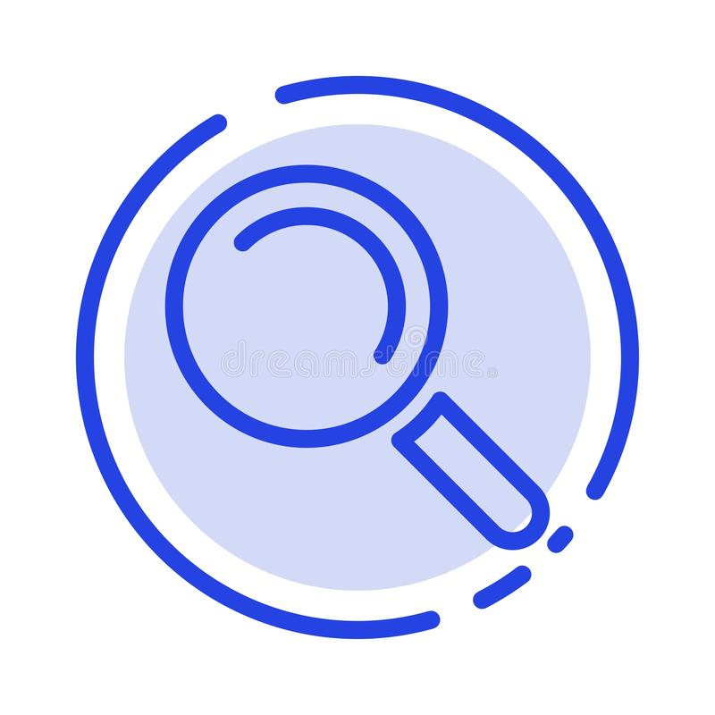 Vind, zoek, bekijk het Blauwe Pictogram van de Gestippelde Lijnlijn royalty-vrije illustratie