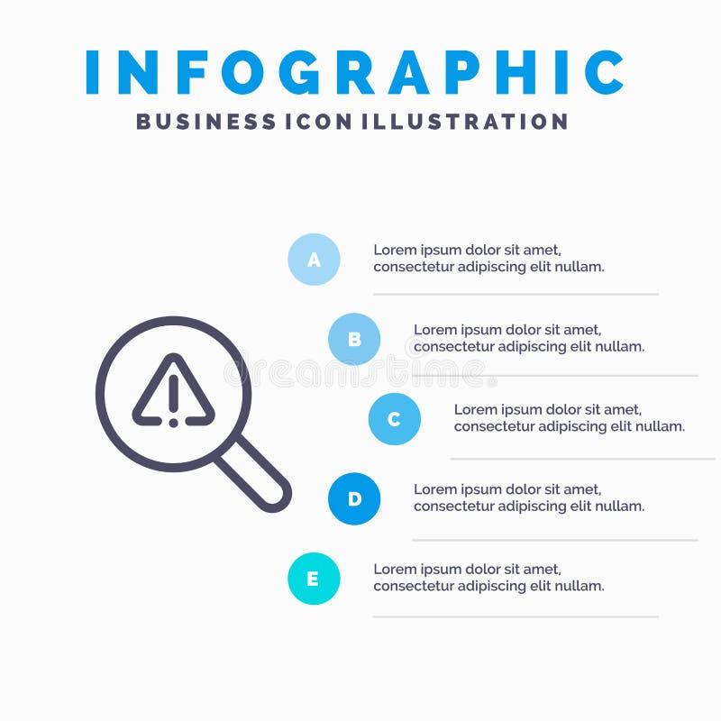 Vind, zoek, bekijk, het pictogram van de Foutenlijn met infographicsachtergrond van de 5 stappenpresentatie royalty-vrije illustratie