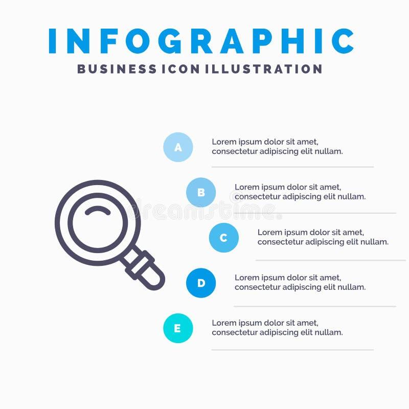 Vind, zoek, bekijk, het pictogram van de Glaslijn met infographicsachtergrond van de 5 stappenpresentatie royalty-vrije illustratie