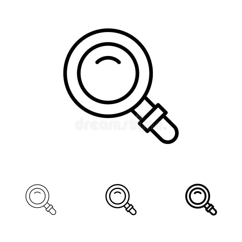 Vind, zoek, bekijk, het pictogramreeks van de Glas Gewaagde en dunne zwarte lijn vector illustratie