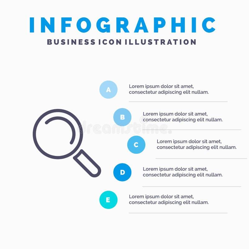 Vind, zoek, bekijk Lijnpictogram met infographicsachtergrond van de 5 stappenpresentatie vector illustratie