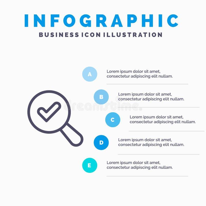 Vind, zoek, bekijk Lijnpictogram met infographicsachtergrond van de 5 stappenpresentatie royalty-vrije illustratie