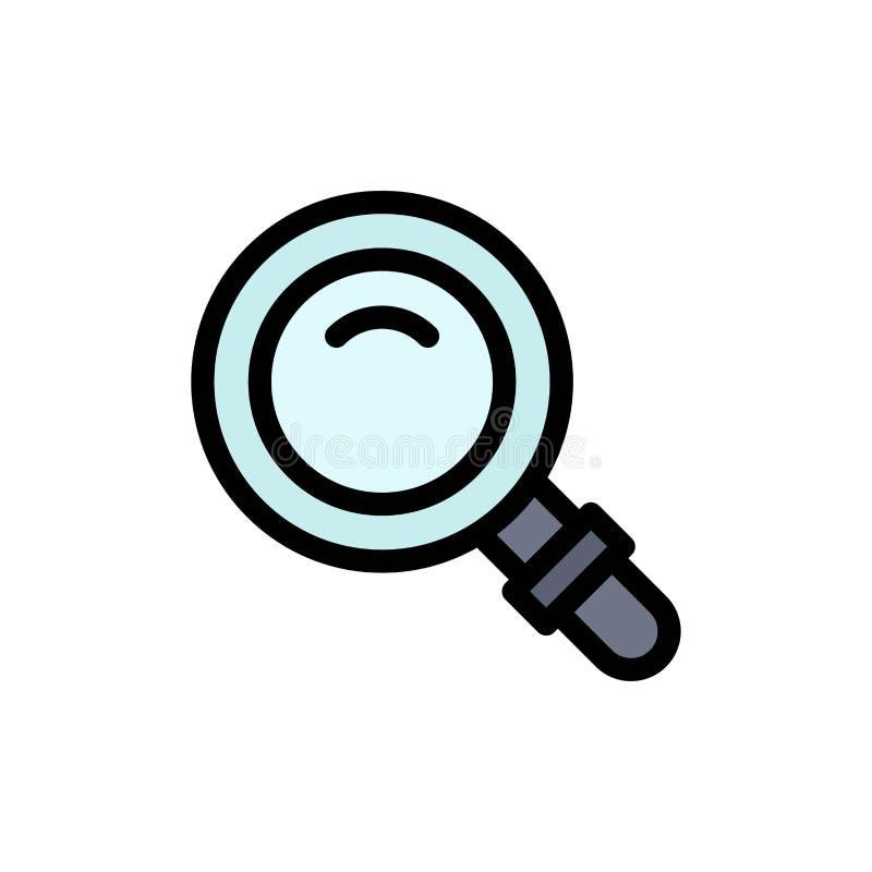 Vind, zoek, bekijk, Pictogram van de Glas het Vlakke Kleur Het vectormalplaatje van de pictogrambanner stock illustratie