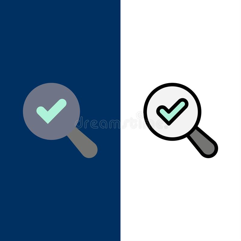 Vind, zoek, bekijk Pictogrammen Vlak en Lijn vulde Pictogram Vastgestelde Vector Blauwe Achtergrond vector illustratie