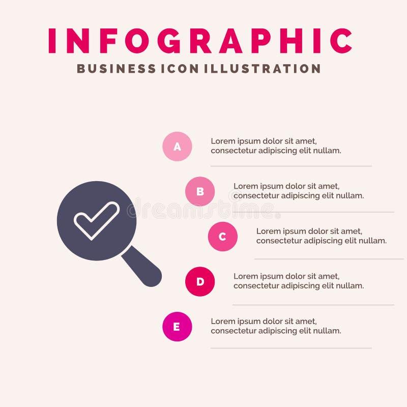 Vind, zoek, bekijk Stevig Pictogram Infographics 5 de Achtergrond van de Stappenpresentatie royalty-vrije illustratie