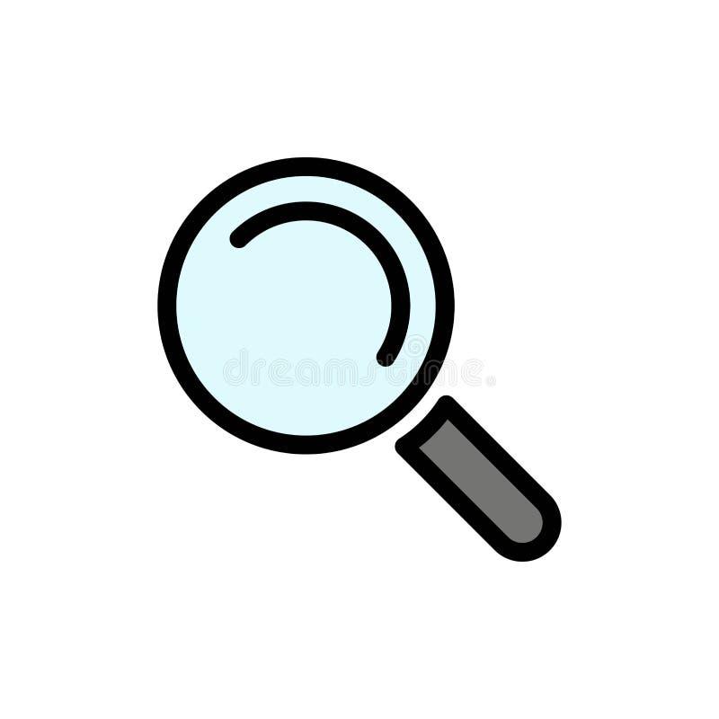 Vind, zoek, bekijk Vlak Kleurenpictogram Het vectormalplaatje van de pictogrambanner royalty-vrije illustratie