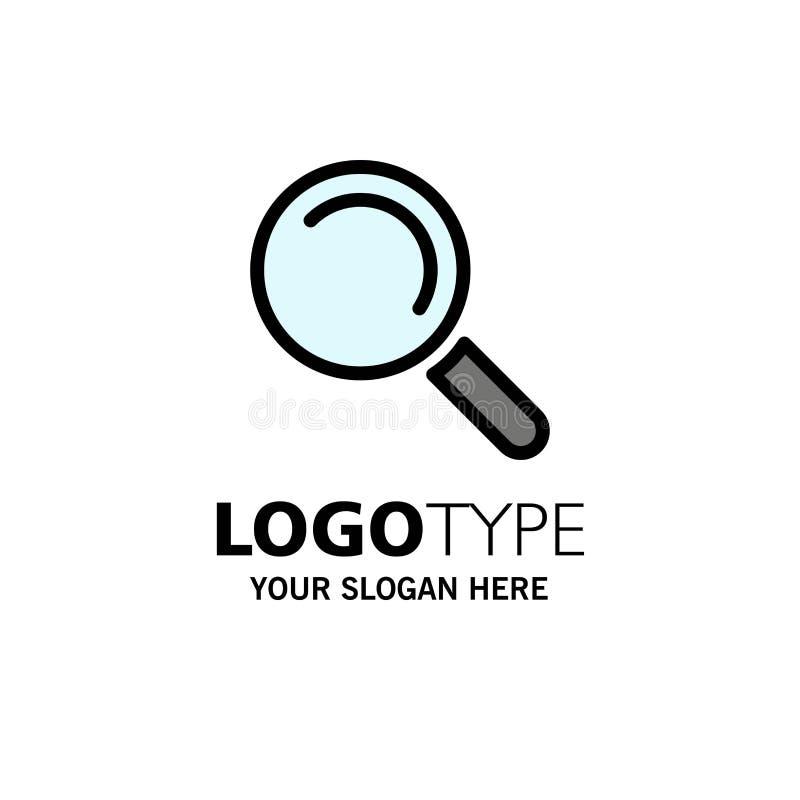 Vind, zoek, bekijk Zaken Logo Template vlakke kleur stock illustratie
