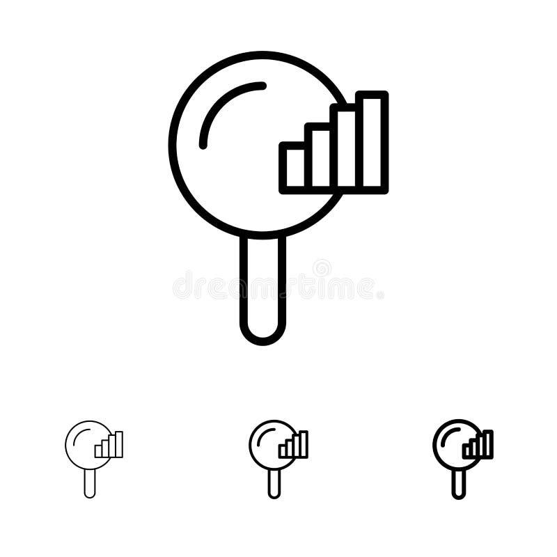 Vind, zoek, de Dienst, het pictogramreeks van de Signaal Gewaagde en dunne zwarte lijn stock illustratie