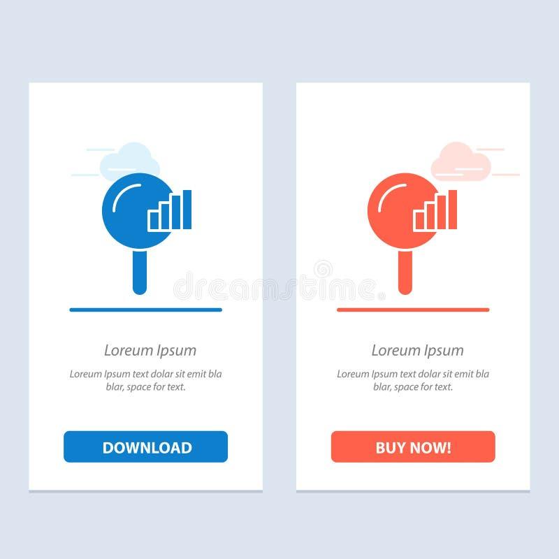 Vind, zoek, de Dienst, signaleer Blauwe en Rode Download en koop nu de Kaartmalplaatje van Webwidget stock illustratie