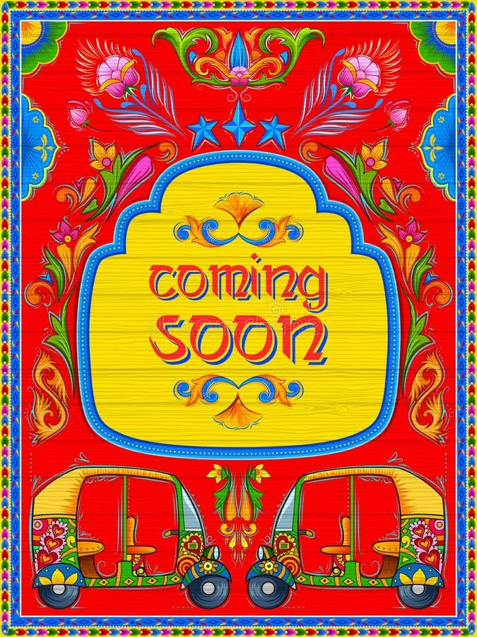 Vinda colorida logo bandeira no estilo do kitsch da arte do caminhão da Índia ilustração royalty free