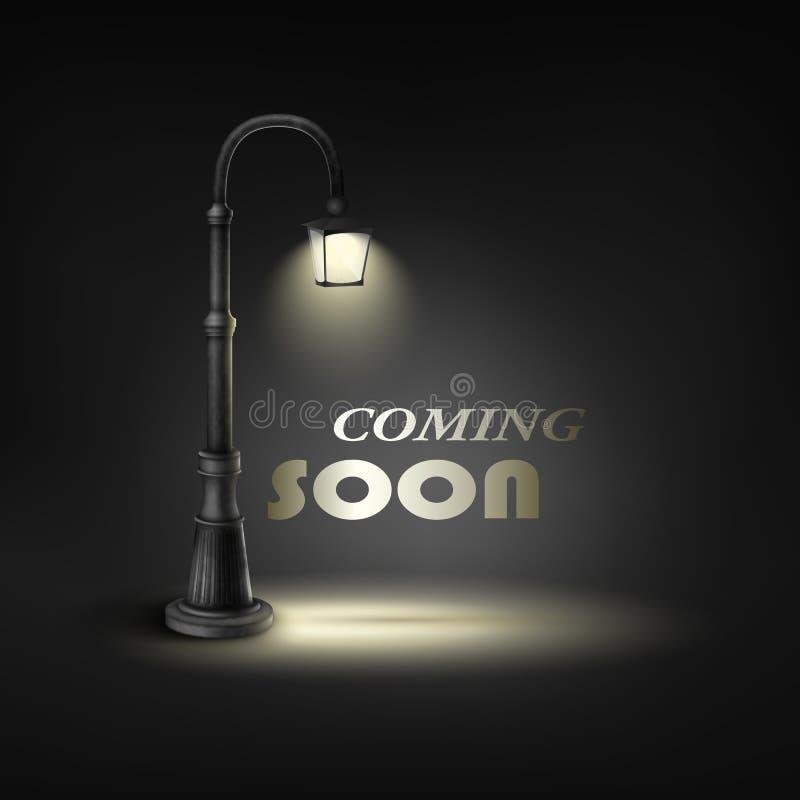 Vinda logo com a lâmpada de rua inferior ilustração royalty free