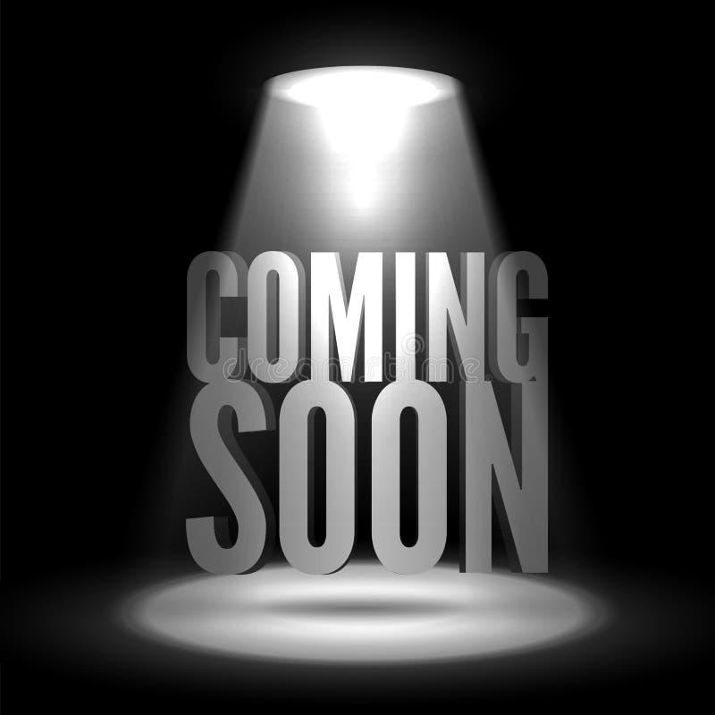 Vinda logo Texto em efeitos do brilho do projetor em um fundo escuro ilustração do vetor