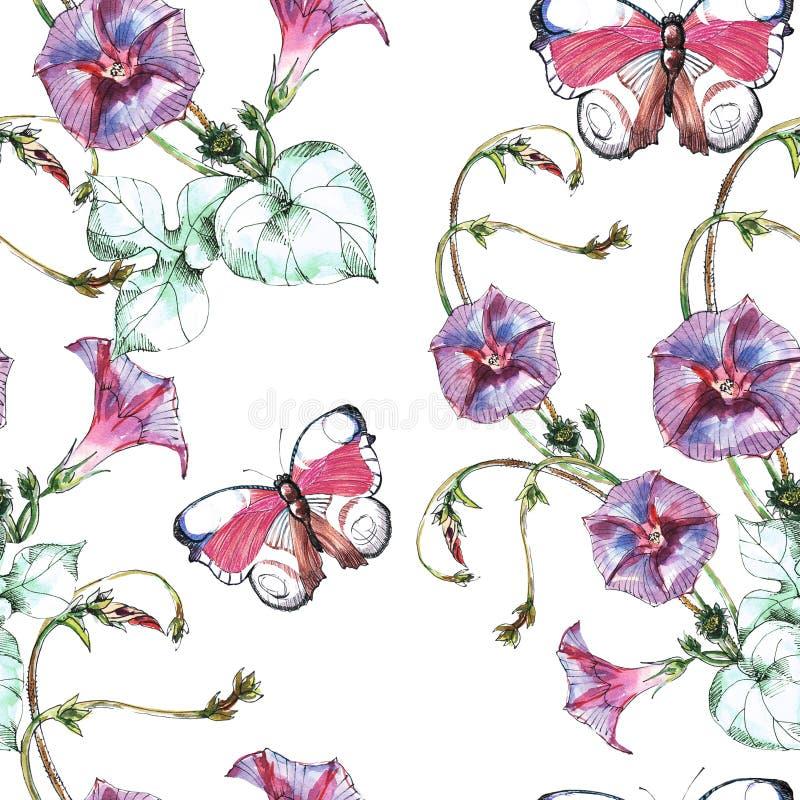 Vindablomman, fjärilen, vattenfärg, mönstrar sömlöst royaltyfri illustrationer
