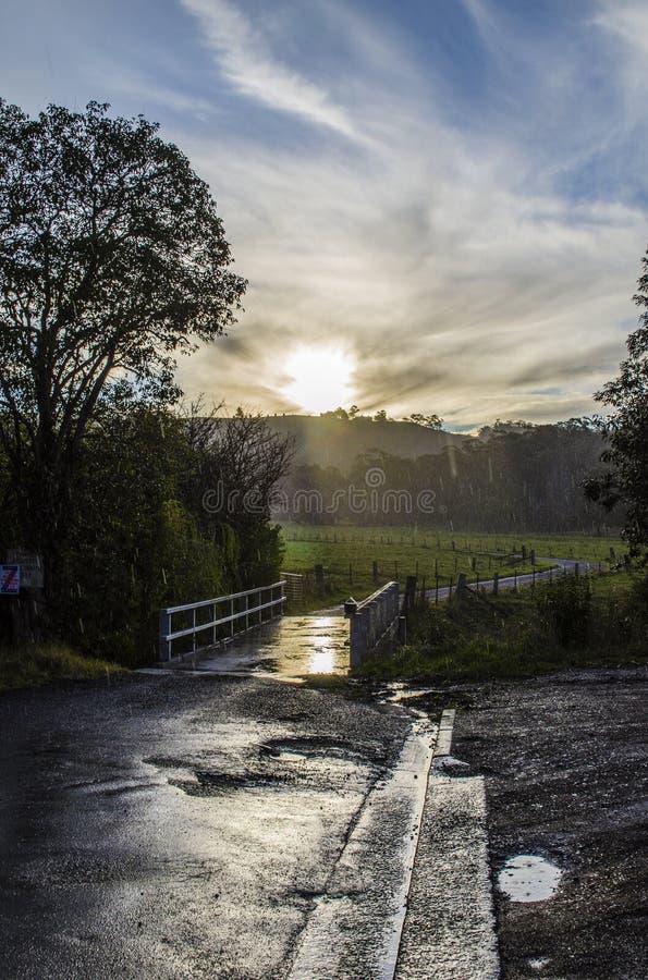 Vindar för en väg in i avståndet under regn arkivbild