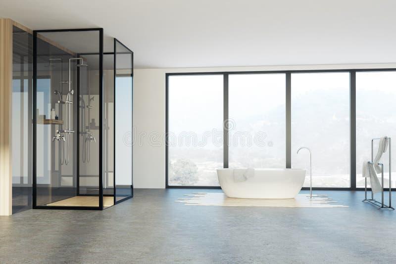 Vindbadrummet, dusch och badar vektor illustrationer