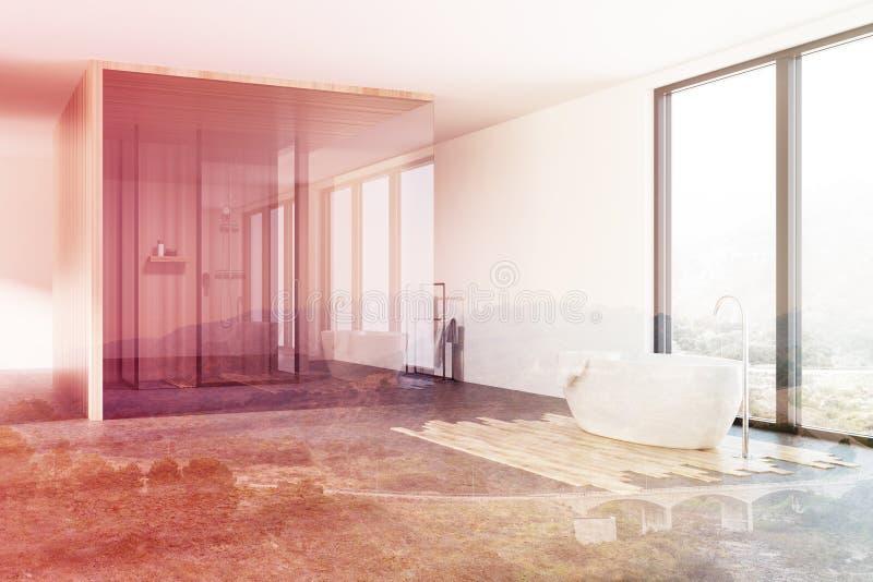 Vindbadrummet, dusch och badar det tonade hörnet stock illustrationer