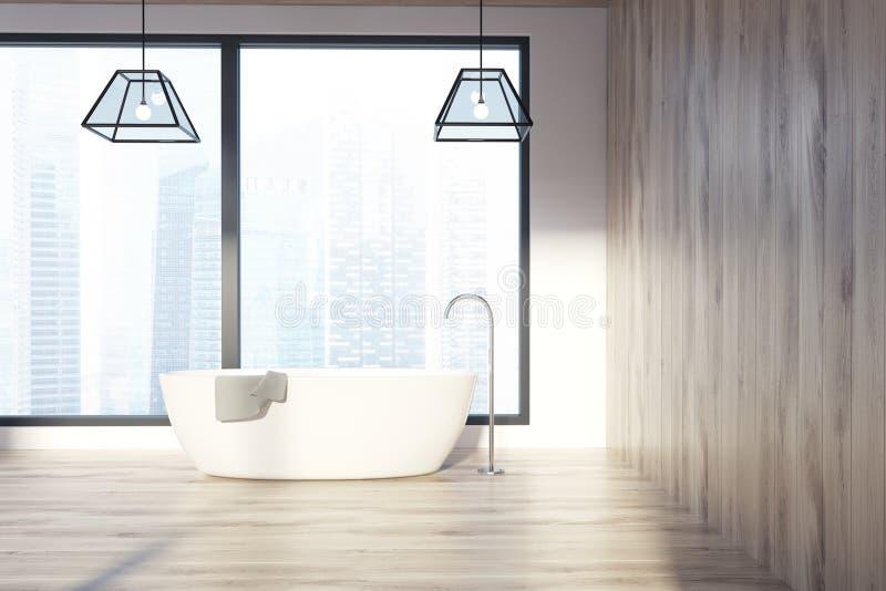 Vindbadrummet, ljusa träväggar, en vit badar royaltyfri illustrationer