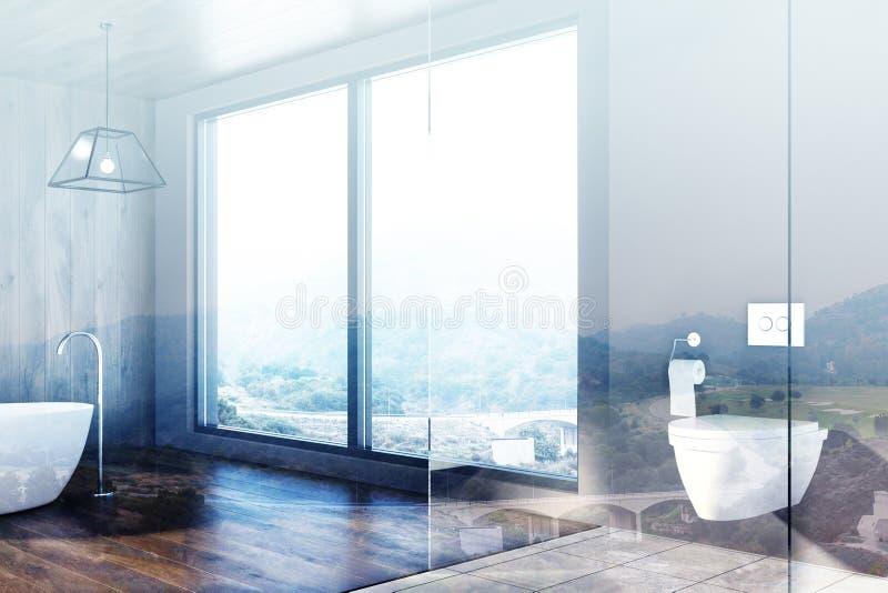 Vindbadrummet, träväggar, badar, toaletten, dubblett stock illustrationer