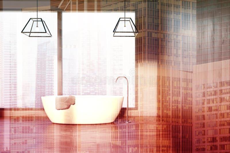Vindbadrummet, träväggar, en vit badar dubbelt vektor illustrationer