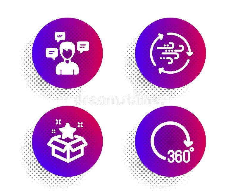 Vindenergi, lojalitetprogram och uppsättning för konversationmeddelandesymboler 360 grader tecken vektor royaltyfri illustrationer