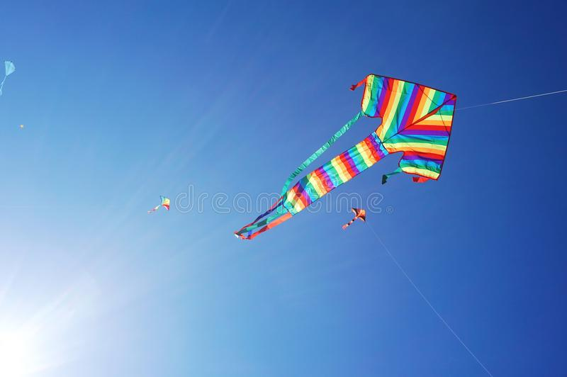 Vindfestival på den Bondi stranden, Sydney, Australien på 10 September 2017 Färgrika drakar i himlen som berömd händelse på Bondi royaltyfri fotografi