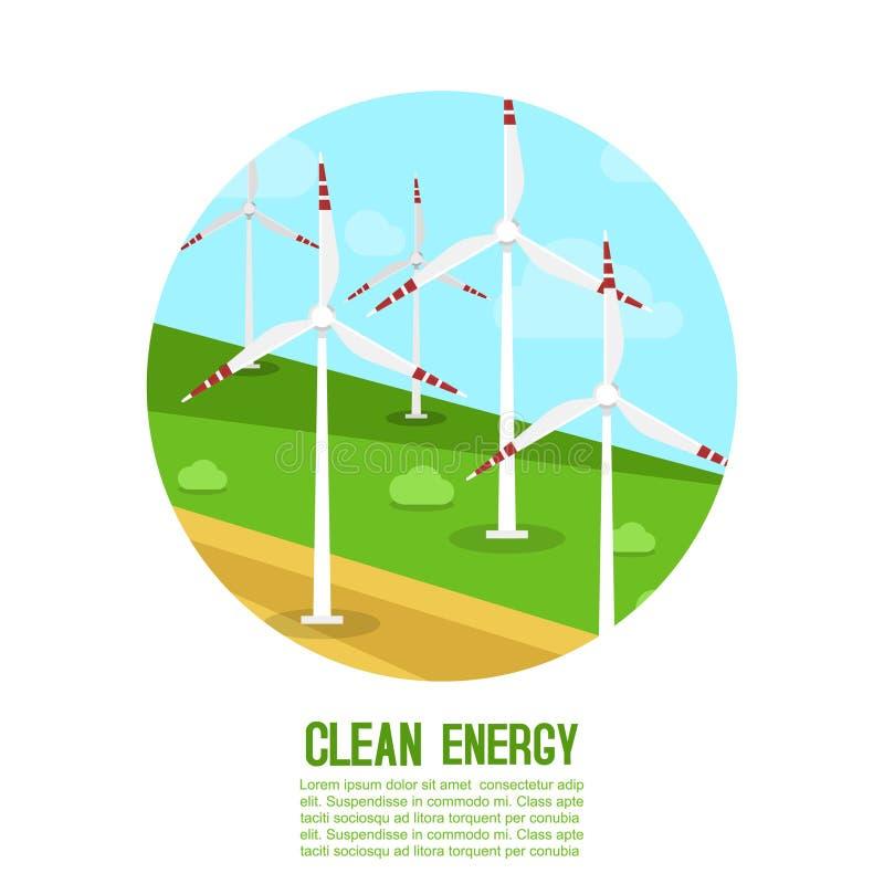 Vindkraft frambringar energeticsvektorillustrationen För ett miljövänligt liv Grön energi, matande energi vektor illustrationer