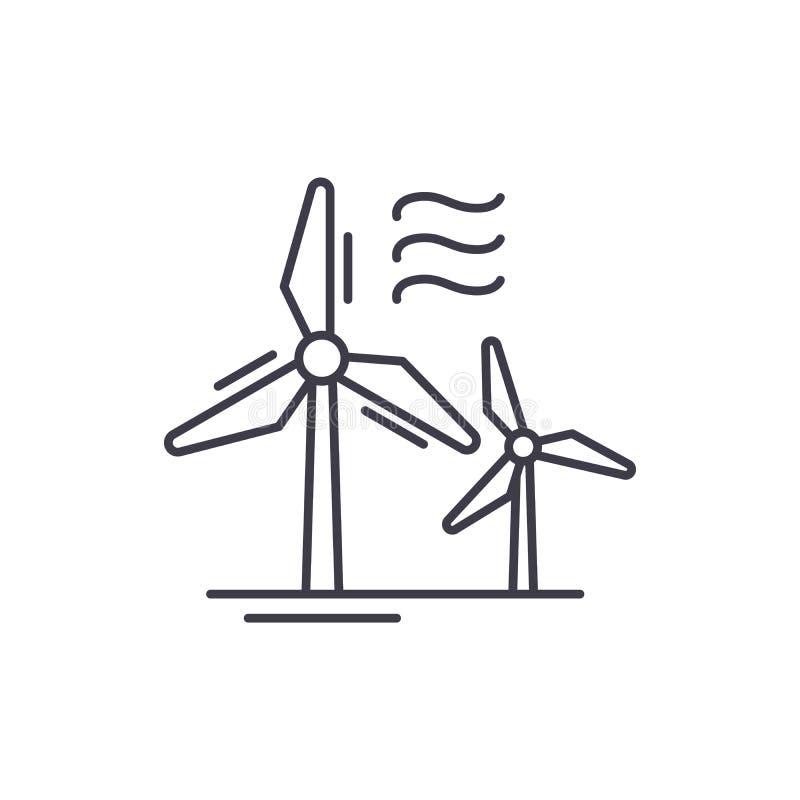 Vindkraftlinje symbolsbegrepp Linjär illustration för vindkraftvektor, symbol, tecken royaltyfri illustrationer