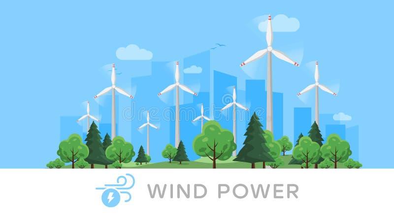 Vindkraftväxt och fabrik field turbines wind yellow Industriellt begrepp för grön energi förnybara källor för energi vektor illustrationer