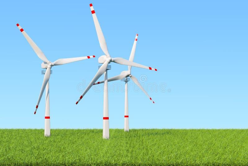 Vindlantgård, uppsättning av vindturbiner mot blå himmel och grönt gräs stock illustrationer