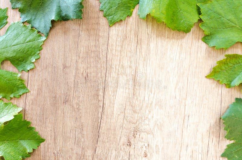 Vindruvor på trätabellen arkivbilder