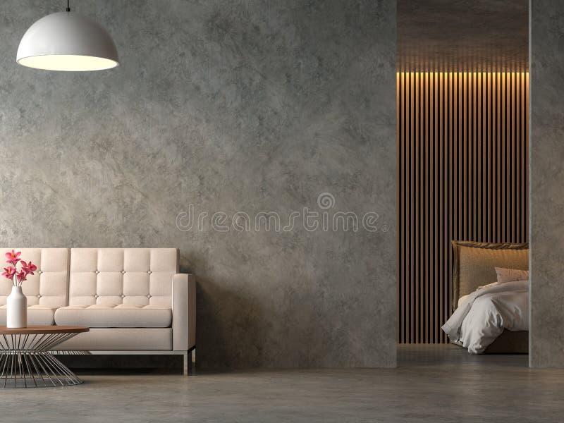 Vindstilvardagsrum och sovrum med polerad cocrete 3d att framföra stock illustrationer